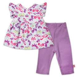 Zutano baby Set Butterfly Baby Flutter Dress Set