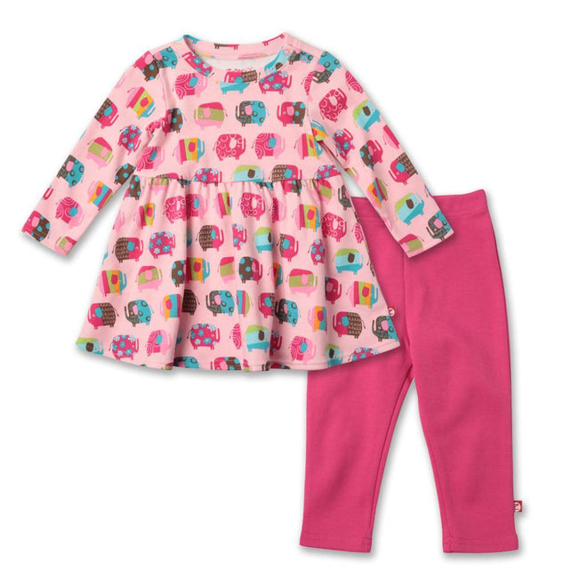 Zutano baby Set Elephants Long Sleeve Dress Set