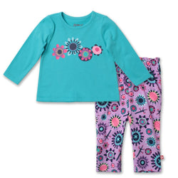 Zutano baby Set Geo Flower Crew Neck Set