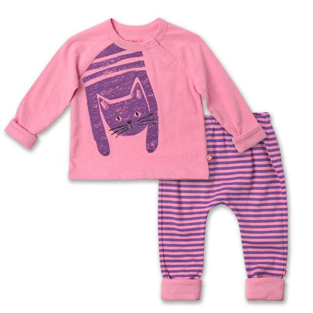 Zutano baby Set Kitty Screen Raglan Set