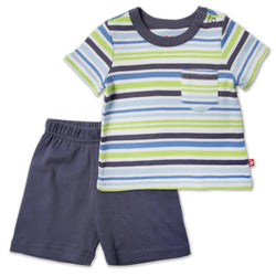 Zutano baby Set Multi Stripe Baby Pocket Crewneck Set