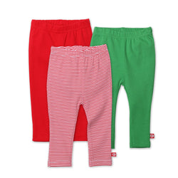 Zutano baby Set Red/Apple Solid & Stripe Legging 3-Pack