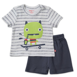 Zutano baby Set Skate Monster Crewneck Set