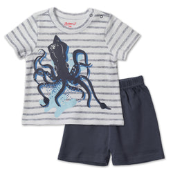 Zutano baby Set Squid Baby Screen Crewneck Set