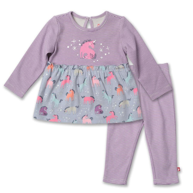 Zutano baby Set Unicorns Flounce Dress Set