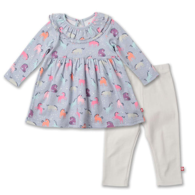 Zutano baby Set Unicorns Ruffle Collar Dress Set