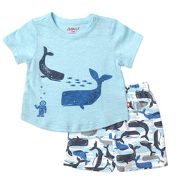 Zutano baby Set Whales Screen Crewneck Set
