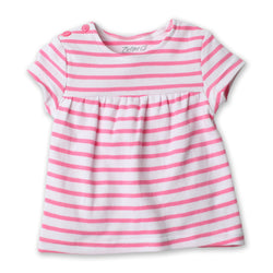 Zutano baby Top Breton Stripe S/S Peasant Top - Hot Pink