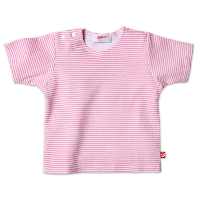 Zutano baby Top Candy Stripe S/S Tee - Hot Pink
