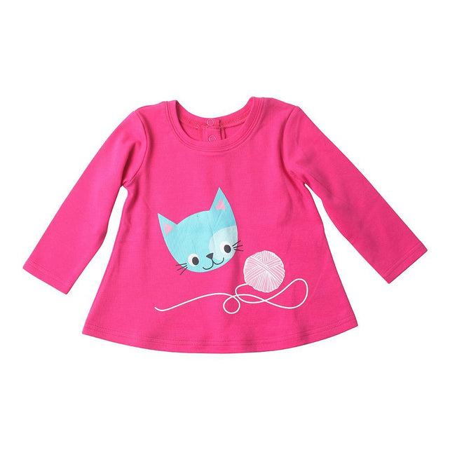 Zutano baby Top Here Kitty L/S Swing Top