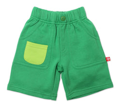 Zutano Bottom French Terry Big Pocket Short - Apple