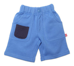 Zutano Bottom French Terry Big Pocket Short - Periwinkle