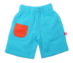 Zutano Bottom French Terry Big Pocket Short - Pool