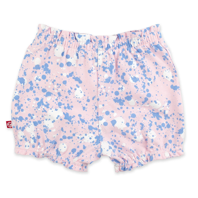Zutano Bottom Paint Splatter Ruffle Short - Baby Pink