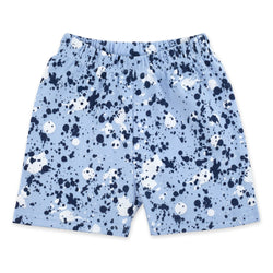 Zutano Bottom Paint Splatter Short - Light Blue