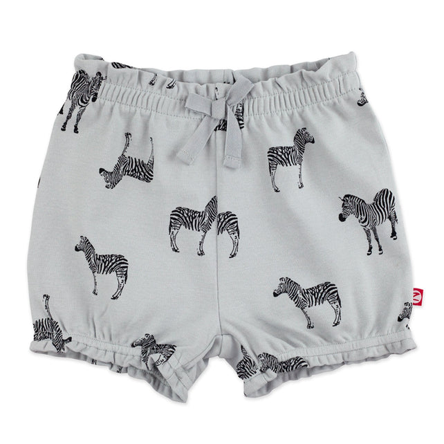 Zutano Bottom Zebra Organic Cotton Ruffle Short - Light Gray
