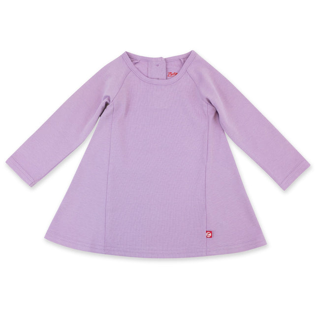 Zutano Dress Organic Cotton Long Sleeve Trapeze Dress - Lilac