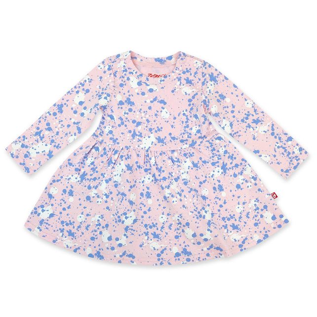 Zutano Dress Paint Splatter Organic Cotton Long Sleeve Forever Dress - Baby Pink
