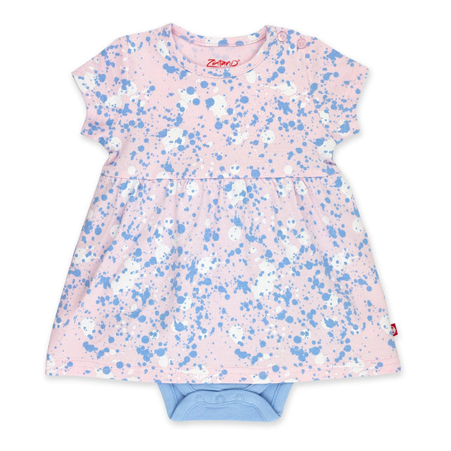 Zutano Dress Paint Splatter Romper Dress - Baby Pink