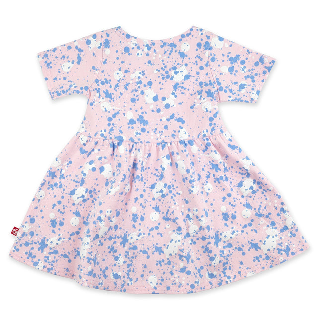 Zutano Dress Paint Splatter Short Sleeve Forever Dress - Baby Pink