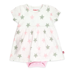 Zutano Dress Stars Romper Dress - Baby Pink