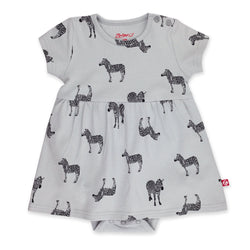 Zutano Dress Zebra Baby Romper Dress - Light Gray
