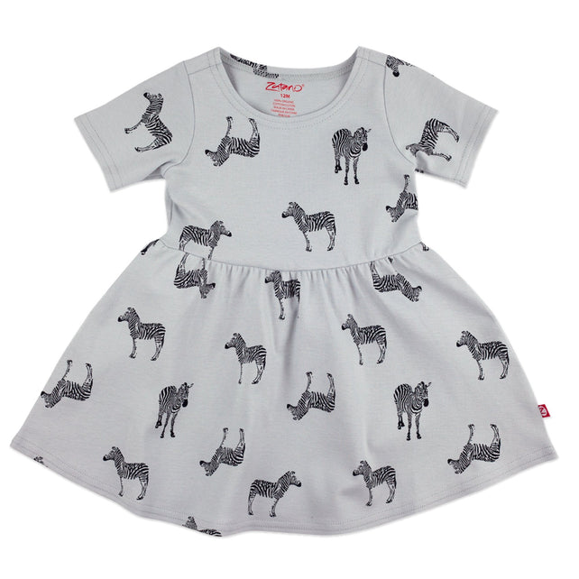 Zutano Dress Zebra Organic Cotton Forever Dress - Light Gray