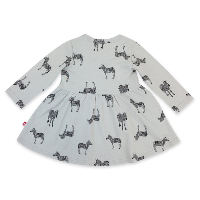 Zutano Dress Zebra Organic Cotton Long Sleeve Forever Dress - Light Gray