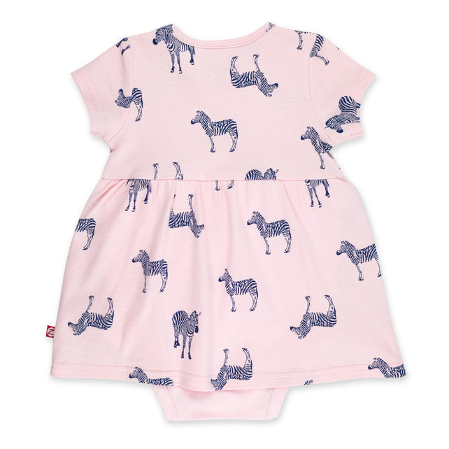 Zutano Dress Zebra Romper Dress - Baby Pink