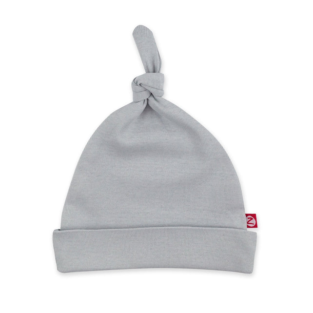 Zutano Hat Solid Rib Knot Hat - Light Gray