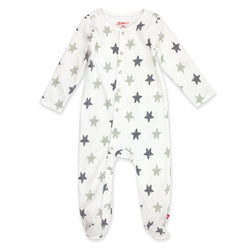 Zutano One Piece Stars Footie - Gray