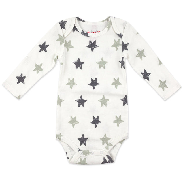 Zutano One Piece Stars Rib Bodysuit - Light Gray