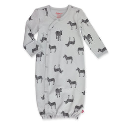 Zutano One Piece Zebra Organic Baby Kimono Gown - Light Gray