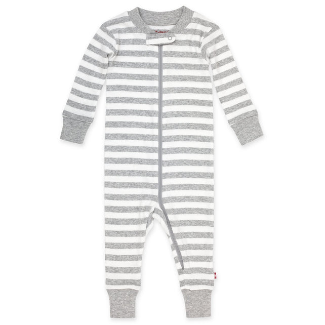 Zutano Pajama Heather Stripe Organic Cotton Sleeper