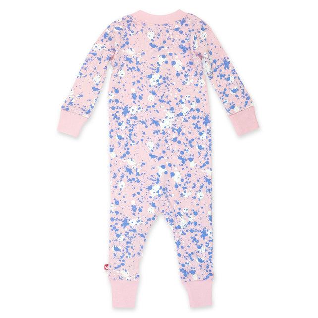 Zutano Pajama Paint Splatter Organic Cotton Sleeper - Baby Pink