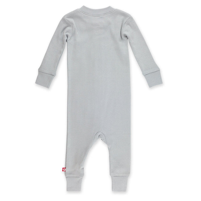 Zutano Pajama Solid Organic Cotton Sleeper - Light Gray