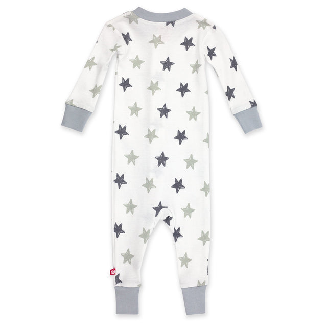 Zutano Pajama Stars Organic Cotton Sleeper - Light Gray