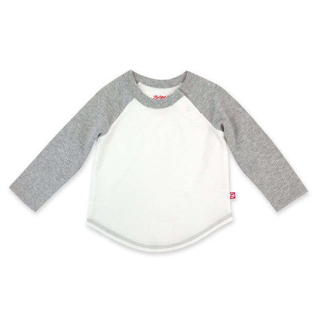 Zutano Top Organic Cotton Long Sleeve Baseball Tee - Heather Gray