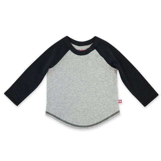 Zutano Top Organic Cotton Long Sleeve Baseball Tee - Heather Gray/Black