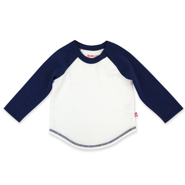 Zutano Top Organic Cotton Long Sleeve Baseball Tee - True Navy