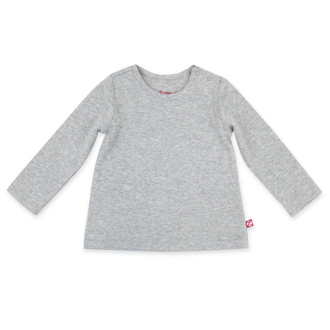 Zutano Top Organic Cotton Long Sleeve Swing Tee - Heather Gray