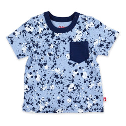 Zutano Top Paint Splatter Short Sleeve Pocket Tee - Light Blue