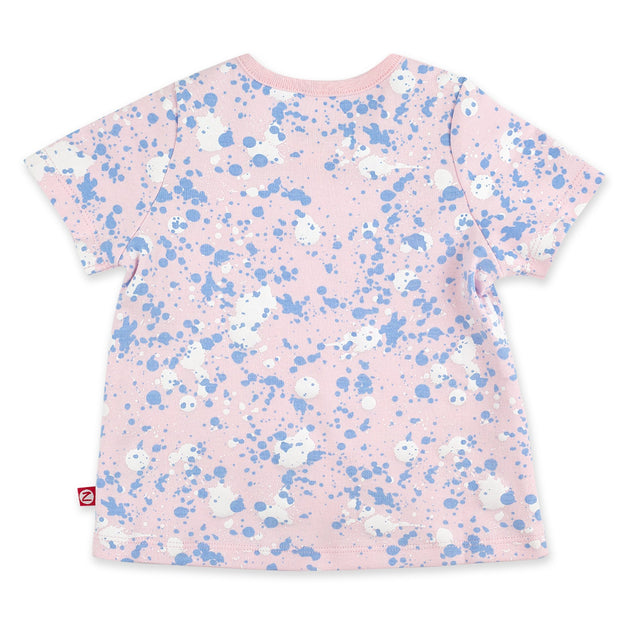 Zutano Top Paint Splatter Short Sleeve Swing Top - Baby Pink