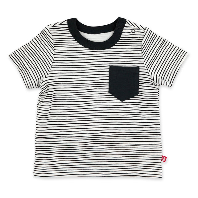 Zutano Top Pencil Stripe Short Sleeve Pocket Tee