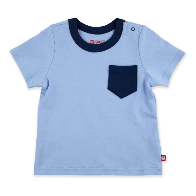 Zutano Top Short Sleeve Contrast Pocket Tee - Light Blue