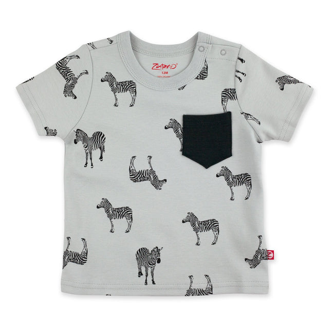 Zutano Top Zebra Short Sleeve Pocket Tee - Light Gray