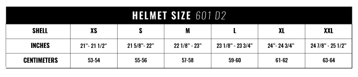 601 D2 Sizing Chart