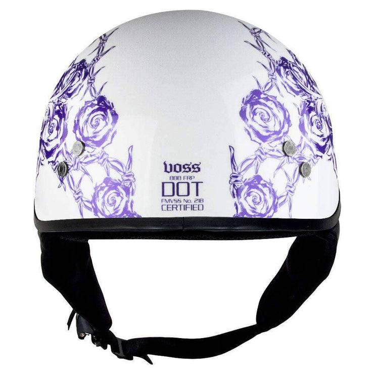 888FRP Bullet Cruiser Skull and Rose Women's Gloss White Half Helmet