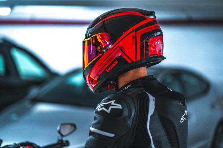 988 Moto-1 Gloss Red/ Black Full Face Katana Helmet