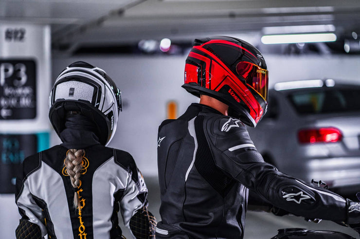 VOSS 988 MOTO-1 RED/BLACK KATANA HELMET